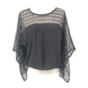 XOXO Black & Crochet Boho Top Women's Size Large